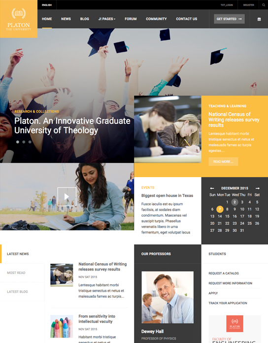 ja platon joomla template for university homepage